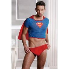 Костюм супермена Candy Boy Superman (футболка с плащем, трусы), красно-голубой, OS