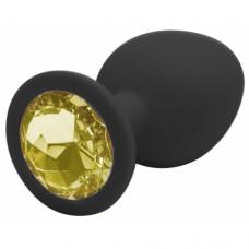Силиконовая черная пробка с кристаллом 8 см, размер М